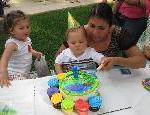 Ian cutting his first birthday cake