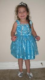 Miranda in one of her princess dresses