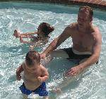 Ian, Miranda and Dad at the pool